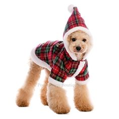 Posh Puppy Boutique is a shop for designer dog clothes and accessories -Santa Dogs Plaid Coat puppy Apparel Puppy Fleece. One of a kind plaid design - great for the holidays. Faux fur trim and toggle buttons for the extra look. Leash hold.