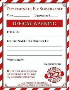 bad behavior warning letter from elfie