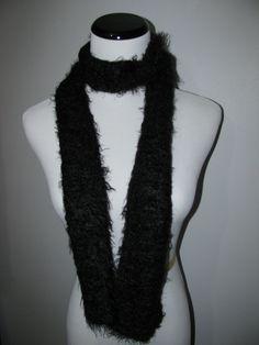 Crocheted Black Scarf by byBrendaS http://etsy.me/12VqW5n via @Etsy