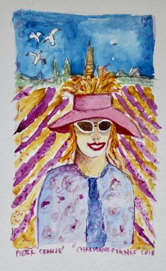 Watercolour Charmaine in Lavender Field France Lavender Fields France, Watercolour, Faces, Painting, Art, Pen And Wash, Art Background, Watercolor Painting, Watercolor
