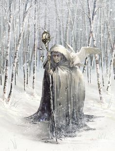 """BEIRA   Personification of winter, mother of all the gods & goddesses, a one-eyed giantess with white hair, dark blue skin, and rust-colored teeth. She built the mountains of Scotland using a magic hammer. Ben Nevis was her """"mountain throne"""". The longest night of the year marked the end of her reign as Queen of Winter, at which time she visited the Well of Youth and, after drinking its magic water, grew younger day by day."""