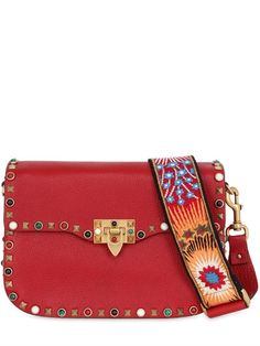 VALENTINO - GUITAR ROCKSTUD ROLLING CROSS BODY BAG - RED