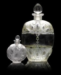 René Lalique for Jay Thorpe 'Jaytho' Perfume Bottle and Stopper 1927 Frosted and polished glass, with blue and grey staining Bonhams Art Deco