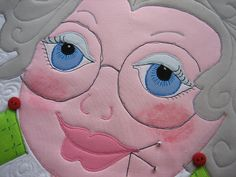 Check out the makeup! Hand Applique, Machine Applique, Applique Quilts, Quilted Potholders, Quilting Room, Girls Quilts, Mug Rugs, Beautiful Dolls, Quilting Designs