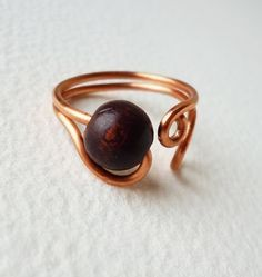 Copper Wire Ring with one dark brown wooden by HestiasEssence, $11.00