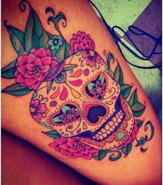 awesome sugar skull tattoo. Love the color