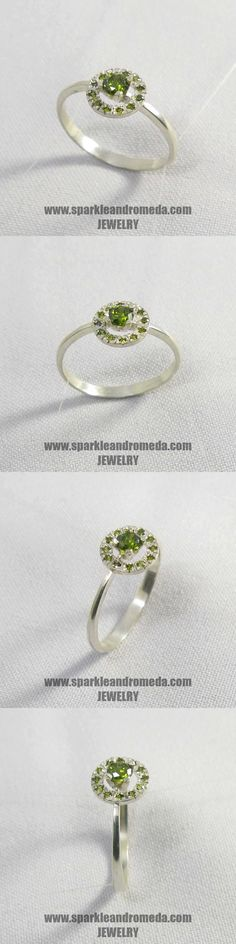 Sterling 925 silver ring with 1 round 4 mm and 12 round mm green peridot color cubic zirconia gemstones. Peridot Color, Green Peridot, 925 Silver, Silver Rings, Diamond Earrings, Wedding Rings, Engagement Rings, Gemstones, Jewelry