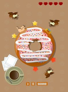 A concept art for a mobile game. Cockroaches attack a donut. #cockroaches #coffee #donut #cartoon #mobile #game #GameArt #GameDev