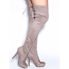 e05ccb822ffe Lace It Back Thigh-High Boots TAUPE ( 45) ❤ liked on Polyvore featuring