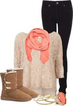 Peach and black skinny jeans with fur boots