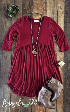 Amazing basic tunic dress that can be worn alone or over leggings or jeggings. So versatile for the season! Rounded hem with empire waist. Ultra-soft rayon blend material. Available in several colors.