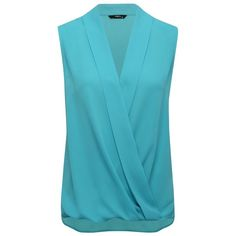 M&Co Wrap Front Blouse ($28) ❤ liked on Polyvore featuring tops, blouses, turquoise, blue blouse, sleeveless drapey top, sleeveless blouse, drapey top and turquoise blouse
