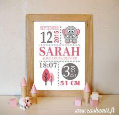 Cadeau naissance, stats de naissance, décoration chambre bébé fille - Fichier Imprimable - n°21 éléphant : Chambre d'enfant, de bébé par cashemir