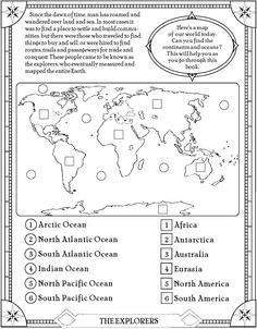 find the oceans and continents page--use this a quiz for labeling continents and oceans. 3rd Grade Social Studies, Social Studies Worksheets, Social Studies Activities, Teaching Social Studies, Elementary Social Studies, 2nd Grade Worksheets, Geography Lessons, Teaching Geography, World Geography
