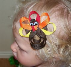 Tom the Turkey Hair Clippie Ribbon Sculpture by PrincessRibbitBows