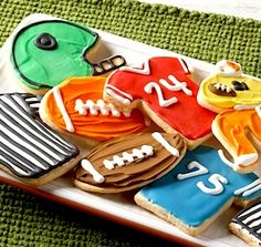 Recipe: Football Game Cookies and Team Colors Frosting (using refrigerated cookie dough) - Recipelink.com