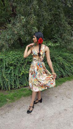 Modern 1950s fashion, swing dress