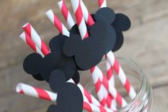 Red Pixie Striped Paper Straws Embellished with by decadentdesigns, $7.50