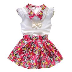 >> Click to Buy << 2017 New Fashion Children Clothing Sets Infant Baby Girls Clothes Floral Skirts White O-Neck Sleeveless Tops For Kids Girls Suit #Affiliate