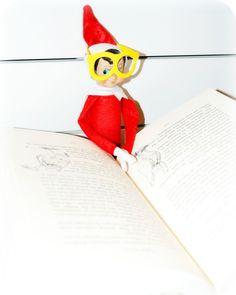 Elf on the Shelf: Read to Self  with Mr. Potato Head glasses