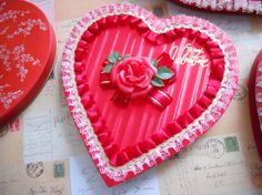 Vintage Valentine Lace Satin Red Rose Heart Shaped by ZoeAmaris, $32.95