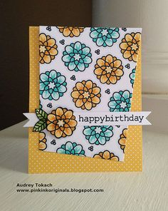 Lawn Fawn - Flutter By, #awesome, Let's Polka 6x6 paper _ gorgeous Happy Birthday card by Audrey via Flickr - Photo Sharing!