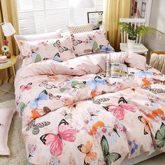 Get this Kawaii Colorful Butterfly Print Complete Bedding Set or comforter bed sheet. This cute pink comfortable cover is made of soft fluffy cotton materials. Butterfly Bedding Set, Butterfly Bedroom, Pink Bedding Set, Butterfly Print, Room Ideas Bedroom, Bedroom Themes, Dream Bedroom, Bedroom Inspo, Bedrooms