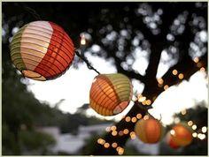 paper lanterns and string lights