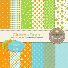 All Dots / Circle Printable Digital Papers by JennyLDesignsShop on Etsy, $3.50