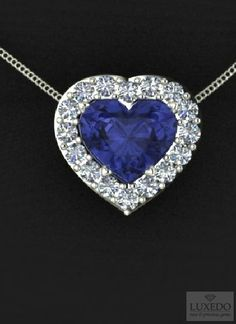 Heart cut sapphire and diamonds pendant,  By Luxedogems.com