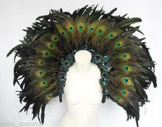 Peacock Costume, Peacock Dress, Feather Dress, Aztec Costume, Samba Costume, Pageant Girls, Headpiece Jewelry, Costume Jewelry, Body Adornment