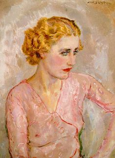 Sluijters, Jan (Dutch, 1881-1957) - Portrait of a Young Woman in Rose Blouse