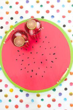 DIY Tutorial: Watermelon Serving Tray via Oh So Beautiful Paper: http://ohsobeautifulpaper.com/2014/06/diy-tutorial-watermelon-serving-tray/   Tutorial + Photo: Mandy Pellegrin for Oh So Beautiful Paper #DIY #watermelon
