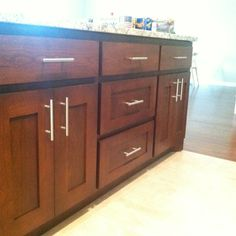 Cherry Wood Kitchen w/ Library Oak Stain Color...like the cabinet fronts...not the hardware or the color