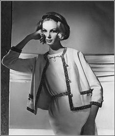 •Nena von Schlebrugge in Chanel-inspired dress and jacket of jersey trimmed in gold braid by Larry Aldrich,1962•