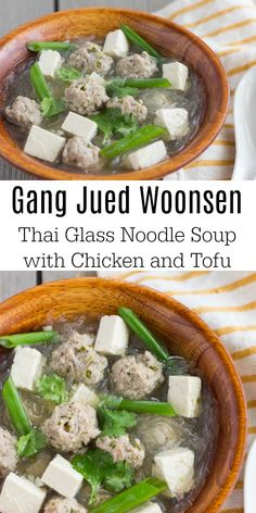Gang Jued WoonSen- Thai Glass Noodle Soup - Gang Jued Woon Sen is a Thai glass or bean thread noodle soup. This soup is typically served with a - Hamburger Meat Recipes, Sausage Recipes, Omelette, Thai Noodle Soups, Thai Soup, Bean Recipes, Healthy Recipes, Soup Recipes, Cooking Recipes