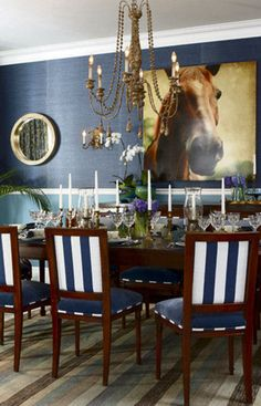Navy, brown & white horse dining room