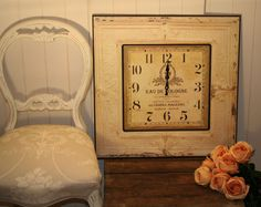 Large, French, Vintage Style, Square Wall Clock. Shabby Chic, Rustic, Cream | eBay