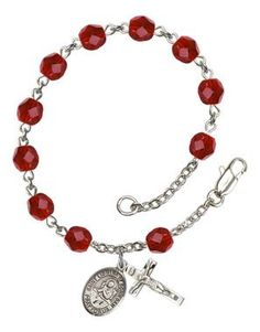 St. Lidwina of Schiedam Silver-Plated Rosary Bracelet with 6mm Ruby Fire Polished beads