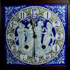 (Blue no go my decorè!) Aesthetic Movement Clock, the enamel face designed by Walter Crane and Lewis Day Walter Crane, Crane Design, Classic Clocks, Aesthetic Movement, Victorian Art, Telling Time, Art For Art Sake, Romanesque, Art Decor