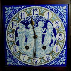 (Blue no go my decorè!) Aesthetic Movement Clock, the enamel face designed by Walter Crane and Lewis Day Crane Design, Classic Clocks, Walter Crane, Aesthetic Movement, Victorian Art, Telling Time, Art For Art Sake, Romanesque, Art Decor