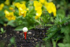 DIY Fairy Gardening Gazing Ball - marble + golf tee (which you could paint) + glue - done!