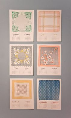 2012 Vintage Handkerchief Letterpress Calendar | Sumally