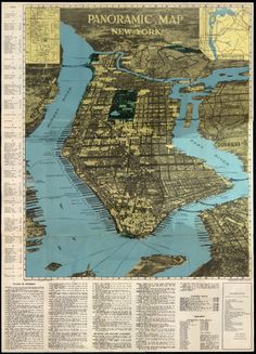 Panoramic Map of New York by Alexander Gross. Souvenir of the 1939 World's Fair. New York City Map, City Maps, Map Pictures, Map Globe, World Geography, Nyc Subway, Old Maps, Map Wall Art, New York Street