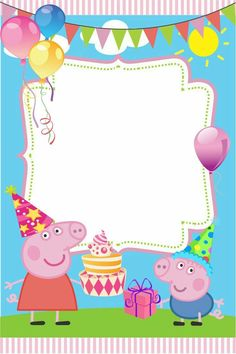 New Peppa Pig Invitation Card Template HD Quality Peppa Pig Birthday Decorations, Peppa Pig Birthday Invitations, Peppa Pig Birthday Cake, Peppa Pig Party Ideas, Birthday Invitation Card Template, Invitacion Peppa Pig, Cumple Peppa Pig, Peppa E George, Invitation Fete