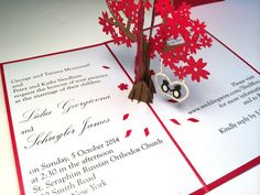 Custom laser-cut hand-made pop-up wedding invites or save the dates by LovePopCards