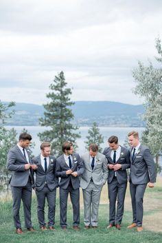Rustic + Romantic British Columbia Summer Wedding Photography : Christie Graham Photography Read More on SMP: www. Dark Grey Groomsmen, Rustic Groomsmen Attire, Groomsmen Outfits, Bridesmaids And Groomsmen, Groom Attire, Groomsman Attire, Dark Grey Suits, Grey Suit Brown Shoes, Groom Suits