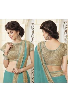 Designer Zari Work Embroidered Blouse Green Saree designed beautifully and given designer touch Designed by experienced industry Designers. Attractive designer work on beautifully designed Pallu with borders.