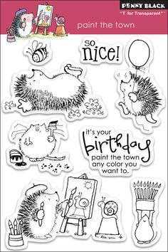 Penny Black Paint The Town - Clear Rubber Stamp. It's your birthday, paint the town any color you want to. Spectrum Noir Markers, Penny Black Cards, Coloring Tutorial, Black Characters, Black N White Images, Doodles, Digital Stamps, Clear Stamps, Cute Drawings