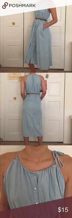 Chambray dress Good condition except there is a small stain near the bottom of the dress. It's hardly noticeable because the dress is flowy, but I just wanted to let you know. The dress is perfect for spring and summer! Let me know if you have any questions! Zara Dresses Midi